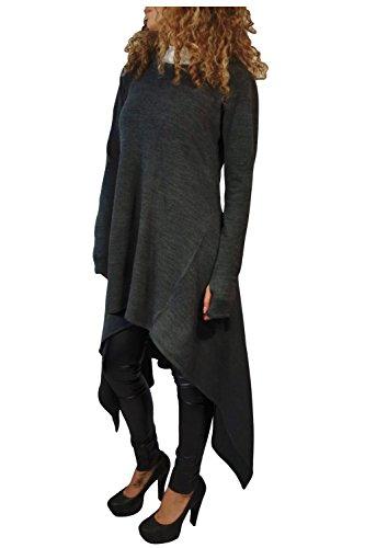 Kumer Women's Asymmetric Hem Long Sleeve Hoodies Sweatshirts Dress Loose Casaul Tunic Tops -