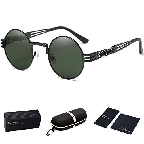 Dollger Dark Green Glasses Round Steampunk Women Metal Frame Sunglasses