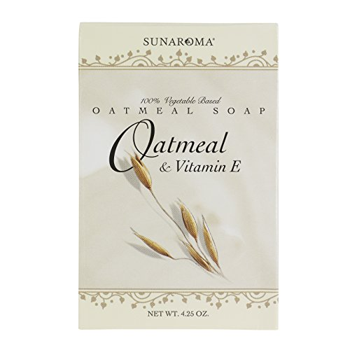 Sunaroma Oatmeal Soap with Vitamin E (4.25 oz) – 100% Vegetable Based Soap – Great for Sensitive or Eczema Prone Skin – Made in the USA, Sulfate Free