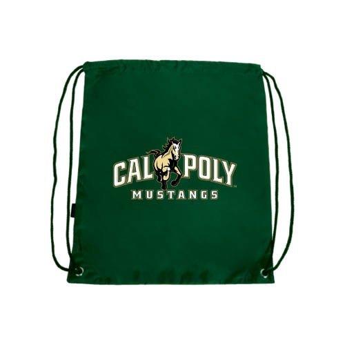 Cal Poly Dark Green Drawstring Backpack 'Calpoly Mustangs Primary Mark'