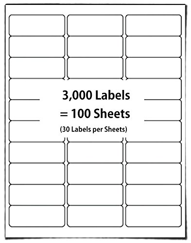 The Elixir Packaging 100 Sheets 30-Up Easy to Peel Address Labels 1' x 2-5/8' White Shipping Labels FBA Labels (3,000 Labels)