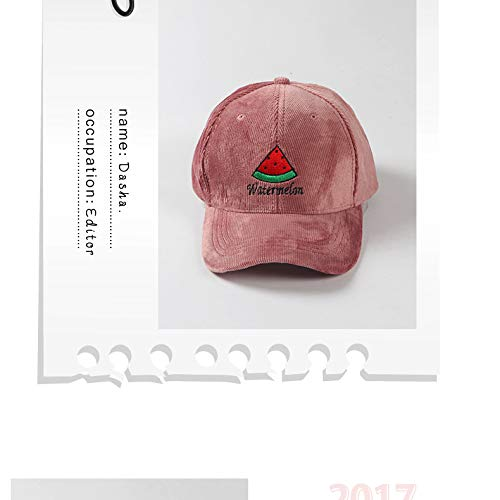 fun fruits unique corduroy base embroidered hat cap cap autumn winter fashion casual wave women girls (watermelon pink corduroy base