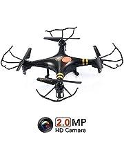 GP TOYS RC DRONE F2C - Camera HD da 2MP – Quadricottero 6 Assi con Giroscopio – Sistema 2.4 GHz, Rotazione 3D, Modalità Headless, Luci LED – Regalo Perfetto di Compleanno e Natale (Nero)
