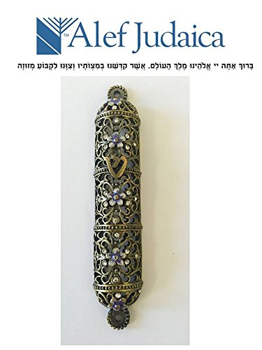 Alef Judaica Beatifully Crafted Filigree Mezuzah Case - Intricate Enamel Flowers and Crystals with Shin Design