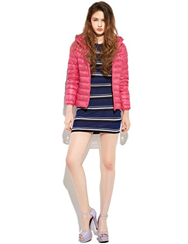 Hooded Down Puffer Pink Jacket Quilted Packable Yeokou Women's weight Short Coat Oq6BgXx
