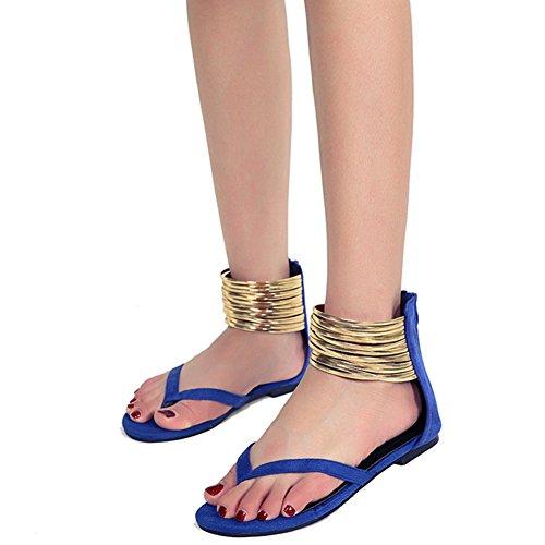 Eté Taille Plage Sandales Vacances 40 Bleu Pied Plate Chaussure 43 41 Femme 42 wealsex Flop Anneau Spartiate Grande Flip Bride Suédé de Cheville Tqw66O