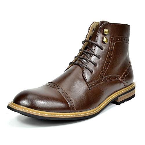 Bruno Marc Men's Dress Ankle Motorcycle Boots Leather Lined Derby Oxfords Bergen-03 Dark Brown 8 M US