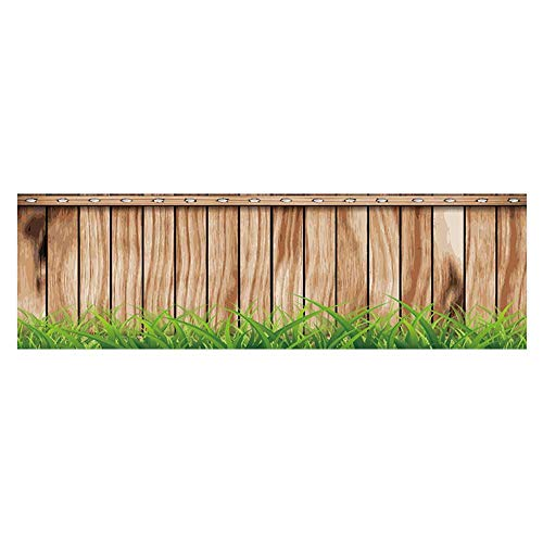 American Cherry Plank - Auraisehome Aquarium Sticker Antique Old Planks American Style Western Rustic Wooden with Thick Growth of Grass Fish Tank Backdrop Static Cling L29.5 x H21.6