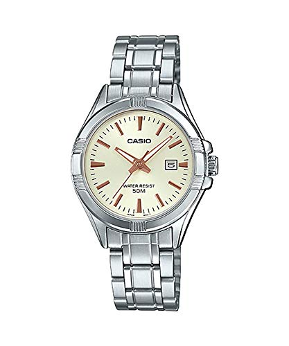 Date Champagne Dial - Casio #LTP1308D-9AV Women's Stainless Steel Analog Date Champagne Dial Watch