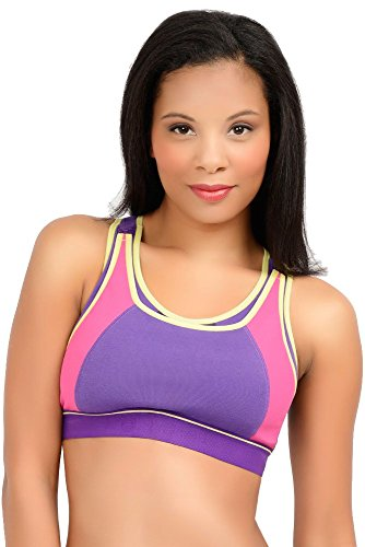 LLLI High Impact Softcup Sports Nursing Bra #4102 (Medium, Purple Color Block)