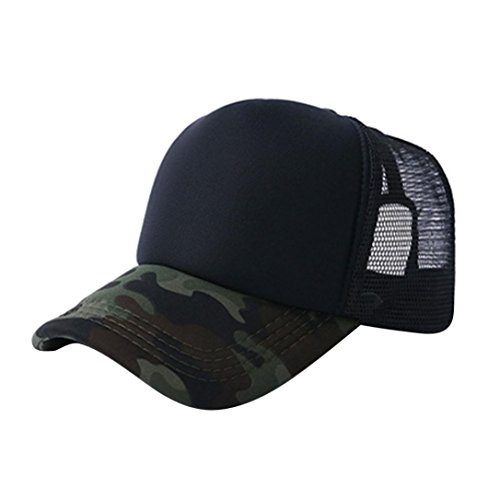 Vertily Mesh Adjustable Baseball Unisex Camouflage Baseball Snapback Blank Visor (Black) (Unisex One Marathon Pocket Top)