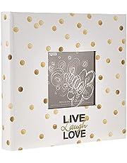 Álbum de fotos Pioneer Golden Dots Live Laugh Love 200 compartimentos 4x6, compartimentos, ouro