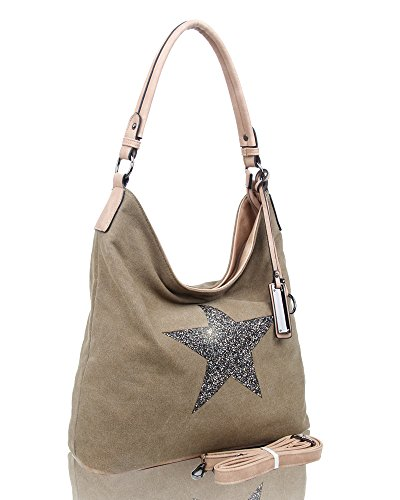Sparking Rhinestone Embellished Star Canvas Shoulder Bag/Tote Shopper Large Size 35x30x14 cm Beige