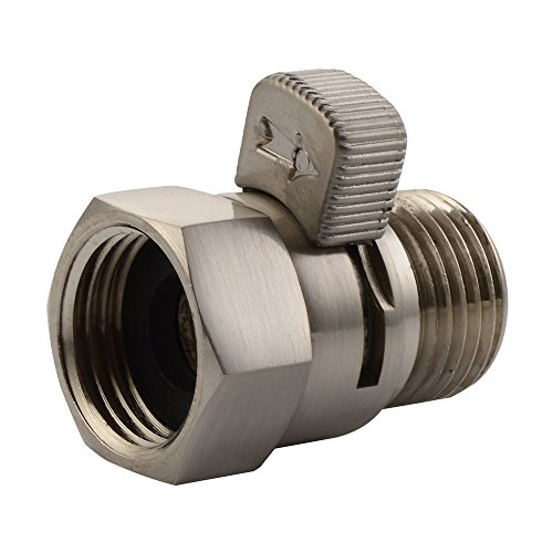Water Flow Control Valve, Angle Simple Brass Water Pressure Regulator Bathroom Shut Off Valve Turn Off Water Switch Reduce Water Decive For Showerhead Hose Bidet Sprayer Brushed Nickel