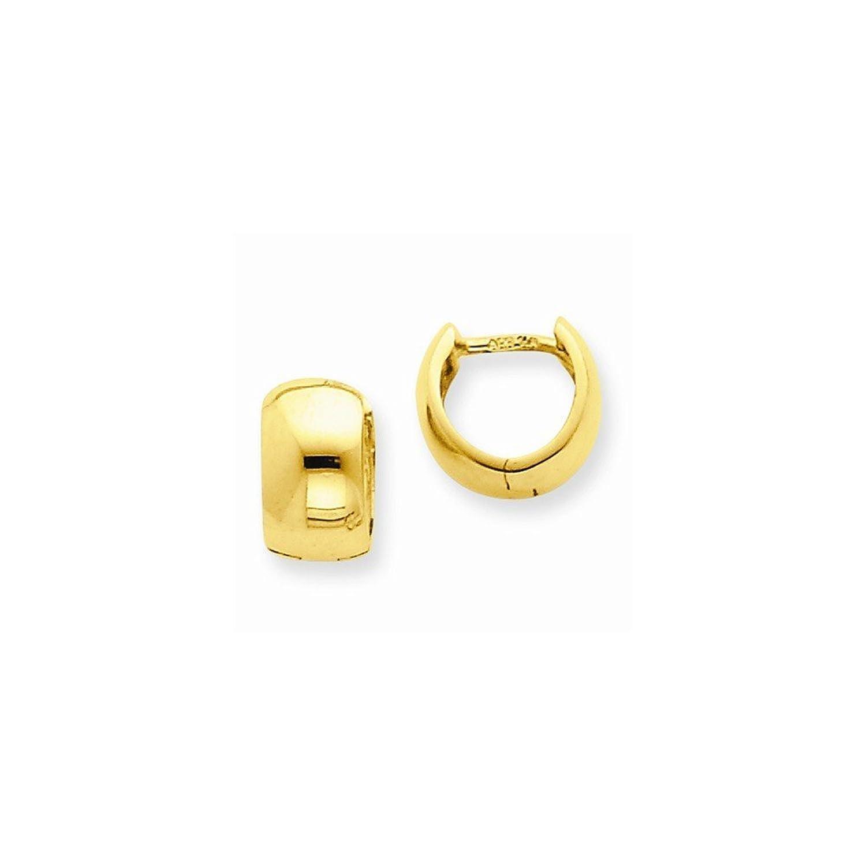 14k Gold Hinged Hoop Earrings (0.28 in x 0.24 in)