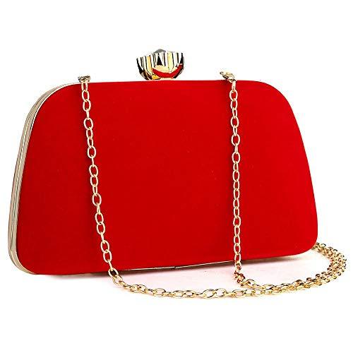 Milky Way Bolso de noche de franela, para mujer, para boda, fiesta, bolso de mano, para mujer, color Rojo, talla Talla única