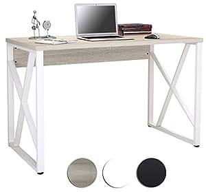 Mesa de ordenador roble blanco ptica madera s 349 1851 for Mesa ordenador amazon