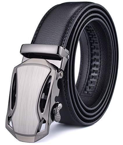 Xhtang Men's Ratchet Belt Automatic Buckle Genuine Leather belt 35mm Wide L