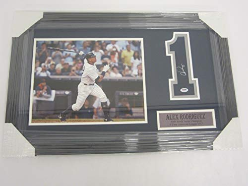 (Alex Rodriguez Ny Yankees Autographed Signed Framed Matted MLB Jersey (Size XL) Number 8x10)