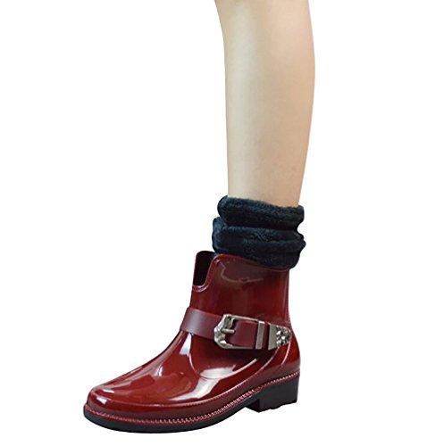 LvRao Señoras Boots de Goma con Tacón Zapatos de Lluvia Nieve Impermeable Botines Tobillo Botas de Jardín para Mujeres Rojo con Calcetines