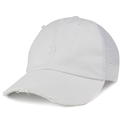 Trucker White Cap (Vintage Distressed Mesh Adjustable Trucker Cap - WHITE)