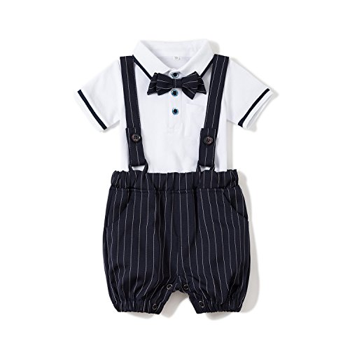 Baby Boys Gentleman Jumpsuit Outfits Suits Bow Tie Overalls Clothes Set (0-6Months, Blue) by Baby Love (Image #4)'