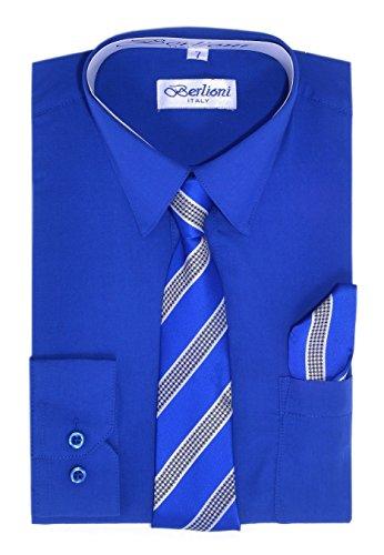 Paragon Stores Boy's Dress Shirt, Necktie, and Hanky Set - Royal Blue, Size (Paragon Dress)