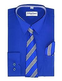 Boy's Dress Shirt, Necktie, and Hanky Set - Royal Blue, Size 14