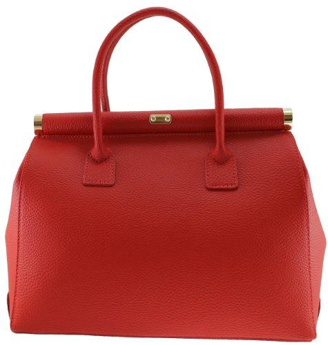 Rouge Satchel Bag véritable femme Beige in élégante poignées 35x28x16cm en CTM bandoulière Made cuir Italy gaZqB