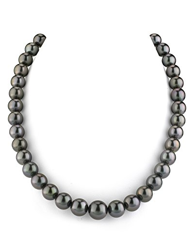 - THE PEARL SOURCE 14K Gold 9-11mm AAAA Quality GLA Certified Round Genuine Black Tahitian South Sea Cultured Pearl Necklace in 17