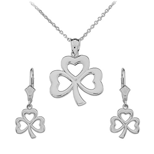 14k White Gold Three-Leaf Heart Clover Irish Shamrock Necklace and Earring Set, (Gold Three Leaf Clover)