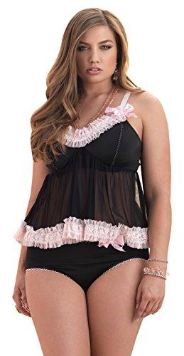 Leg Avenue Mesh Panties (Leg Avenue Women's Plus-Size Plus Size 2 Piece Love Set Mesh Babydoll and Panty, Black/Pink, 1X-2X)