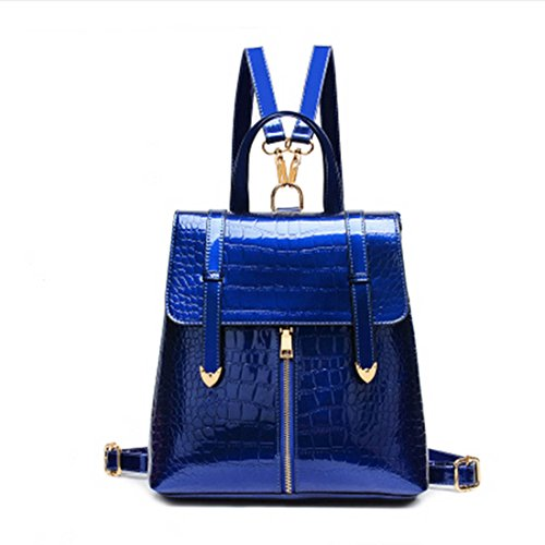 [Classic Vintage Women Casual Patent Leather Shoulder Bags Backpacks Shoulder Bag (Blue)] (Patent Leather Backpack)