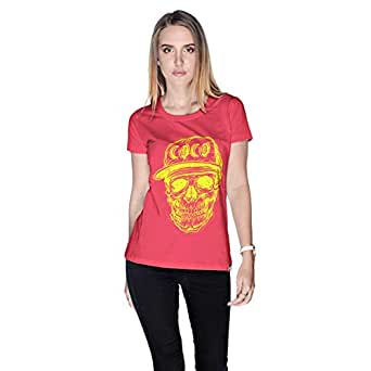 Creo Yellow Coco Skull T-Shirt For Women - L, Pink