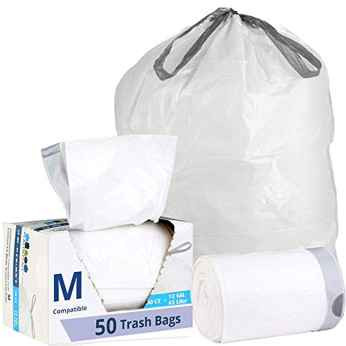 Plasticplace Custom Fit Trash Bags │ Simplehuman Code M Compatible (50 Count) │ White Drawstring Garbage Liners 12 Gallon / 45 Liter │ 21.5