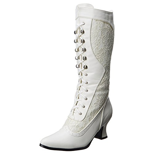 Womens Vistorian Boots Ivory White Mid Calf Boots Lace Shoes 2 1/2 Inch Heels Size: 6]()