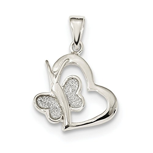 925 Sterling Silver Glitter Enamel Heart Butterfly Pendant Charm Necklace Animal Love Fine Jewelry Gifts For Women For Her (Melissa Lady Dragon)