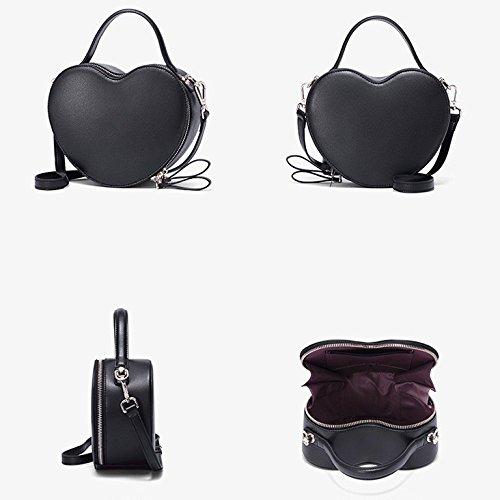 Cuir Mignon à Coeur Shopping Noir Black Femmes en Main Cosmétiques Forme Mode Rouge Sacs WKNBEU Diagonale Sac Épaule Blanc SqEwPn8E