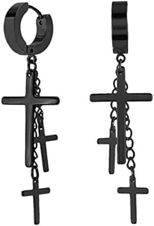 Charisma Gothic Stainless Steel Hoop Huggie Hinged Stud Earrings with Lightning Cross Dangle Dangling Gift for Men Women