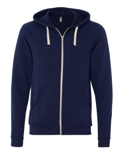 Bella+Canvas Unisex Tri-blend Full-Zip Hoodie - Navy TriBlend - S