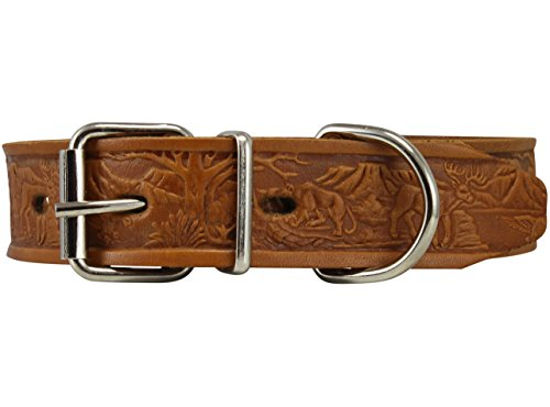 Tan Tooled - Genuine Tooled Leather Dog Collar Hunting Pattern Tan 3 Sizes (Neck Circumf: 13