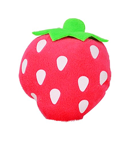 Freerun Pet Squeak Chew Plush Toy with Sound for Dog Cat Pet Fruit & Vegetables Toy (Red Strawberry)