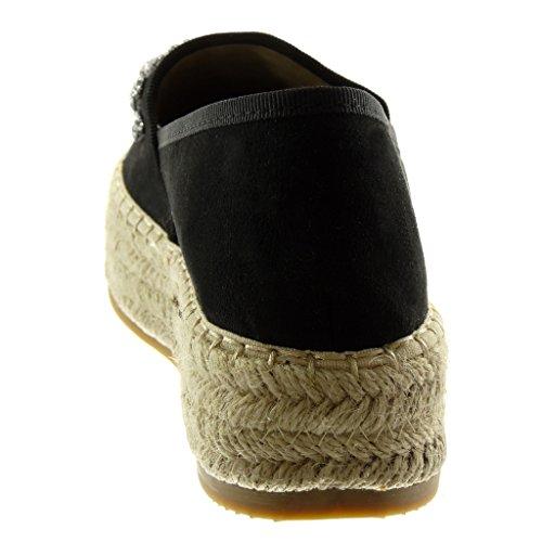Moda Corda Angkorly Gioielli Blocco 3 a Scarpe Slip 5 On Espadrillas Zeppe cm Strass Tacco nero Donna zrzq85x4