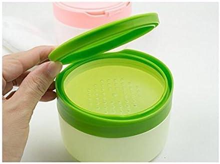 1/pcs Plastique Vert vide Portable recharge Baby Skin Care After-bath Poudre Poudre Coque Puff de talc Maquillage de stockage de support /à nourriture Dispensor avec tamis et /éponge Puff