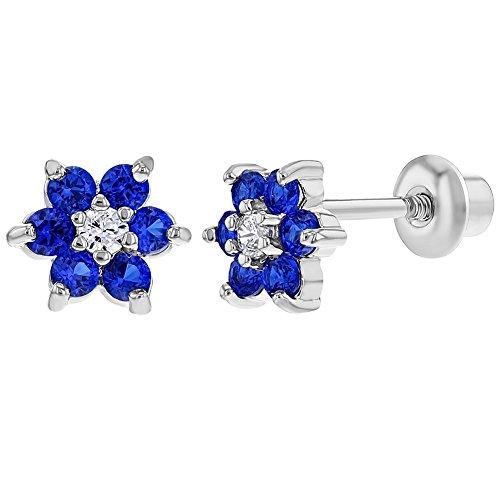 - Rhodium Plated Navy Blue Crystal Flower Baby Girl Screw Back Earrings