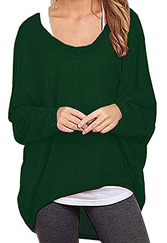 Dutebare Women Oversized Baggy Shirts Batwing Sleeve Pullover Tops Casual Knit Blouse Green XL
