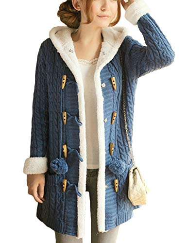 (Yeokou Women's Sherpa Lined Twisted Long Hooded Toggle Cardigan Sweaters Jackets (One Size, Blue))