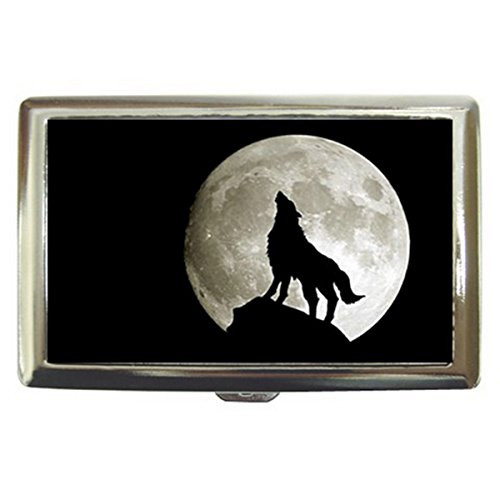 HOWLING WOLF Cigarette Money Case Credit Card Wallet Holder for Cigarette 100s NEW