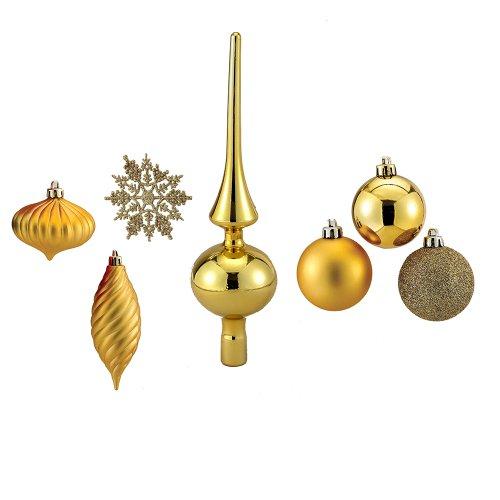 Kurt Adler 150 Piece Gold Christmas Tree Trimming Shatterproof Ornament and Tree Topper Kit