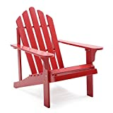 Comfort Back Design Pleasant Bay Painted Acacia Wood Outdoor Adirondack Patio Chair - Red